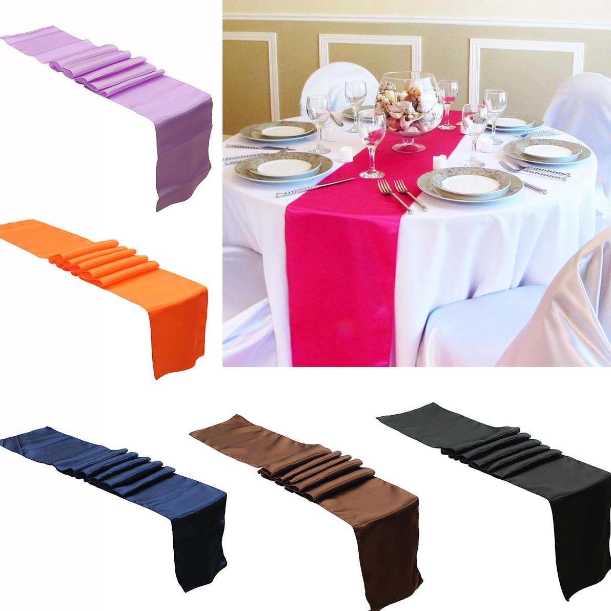 Nieuwe Mode 275*30 Cm Elegante Satijn Pure Kleur Tafelloper Bruiloft Receptie Birthday Party Anniversary Banket Party Decoratie