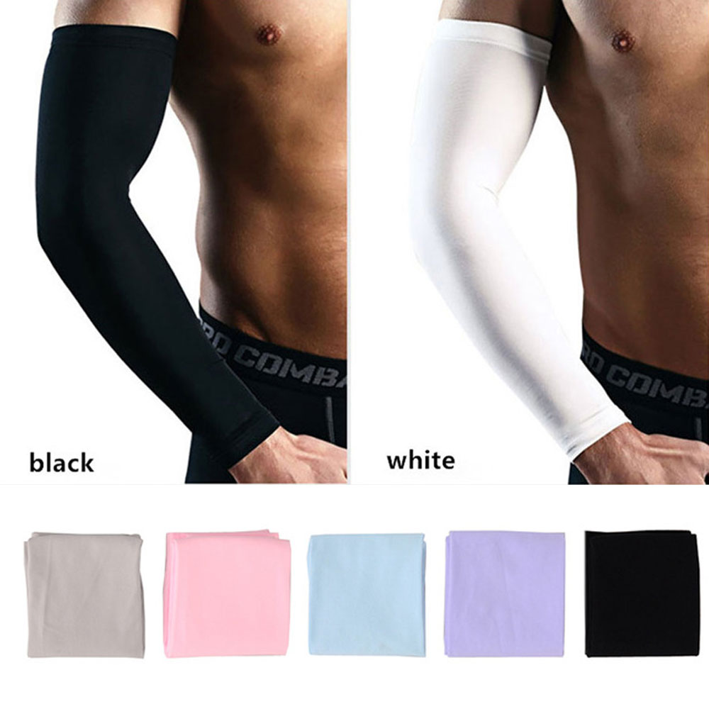 Men Breathable Quick Dry UV Protection Running Arm Sleeves Basketball Elbow Pad Fitness Armguards Sports Cycling Arm Warmers