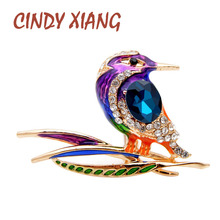CINDY XIANG New Arrival Enamel Bird Brooches For Women Colorful Rhinestone Brooch Pin Fashion Animal Jewelry High Quality Gift