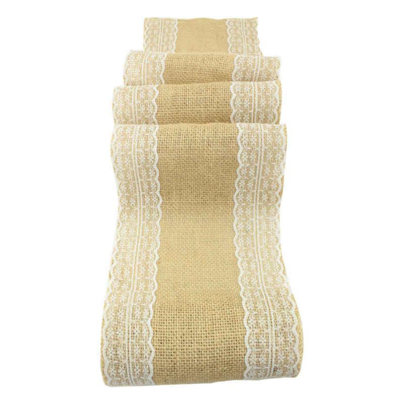 10 шт. в партии джутовый пояс для стульев с кружевом 17 см x 275 см сшитый край потертый шикарный свадебный Декор-деревенские ленты для свадебных стульев банты