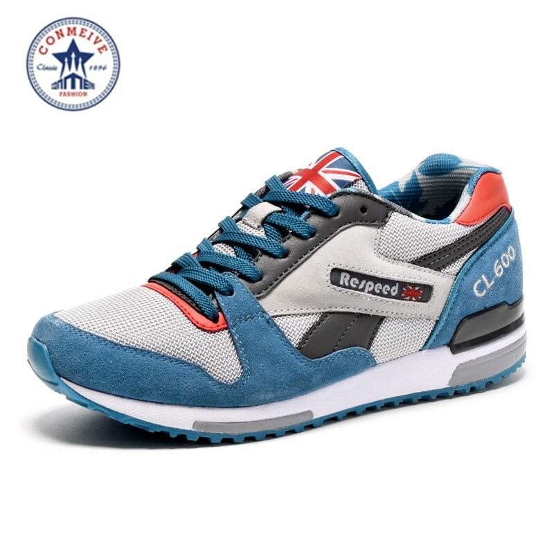 2016 Vente Hard Court Moyen (b, m) chaussures de course Nouveaux Hommes Sneakers Homme Véritable Sports de Plein Air Plat Run Pied Jogging À La Mode