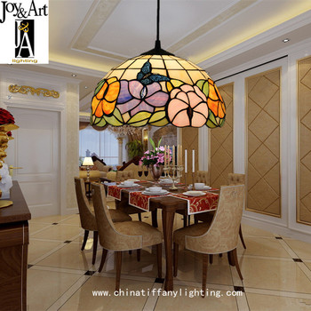 Lámpara de luz colgante con cadena de hierro LED E27 de luminaria suspendida con vidrieras barroco de Tiffany para sala de estar comedor