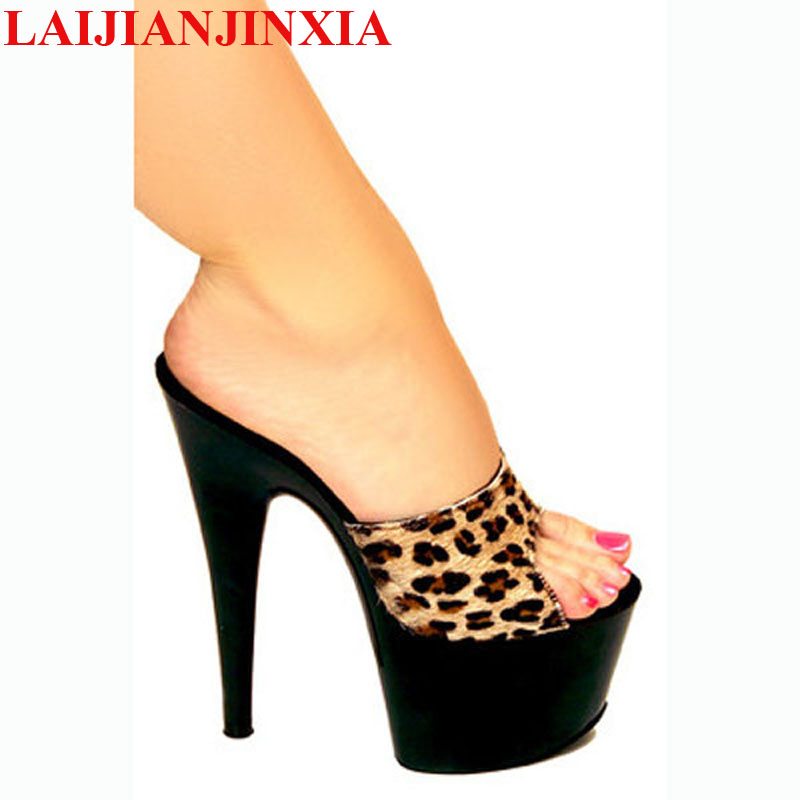 LAIJIANJINXIA New HOT SALE 6 Inch High Heel Sandals NEW Fashion Women Dress Sexy Shoes 17cm Crystal Shoes Exotic Dancer Slippers hot sale 6 inch high heel sandals new fashion women dress sexy shoes 17cm crystal shoes exotic dancer slippers