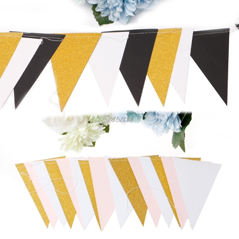Triangular Flag Pull Flowers Vintage Glitter Pennant Flag Banner Garland String Party Wedding Birthday Decor Multi-festive Dec