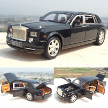 High Simulation 1:24 Rolls Royce Phantom Lengthened Cohes Diecast Alloy Car Mode With Six Door For Kids Gift Toy Collection