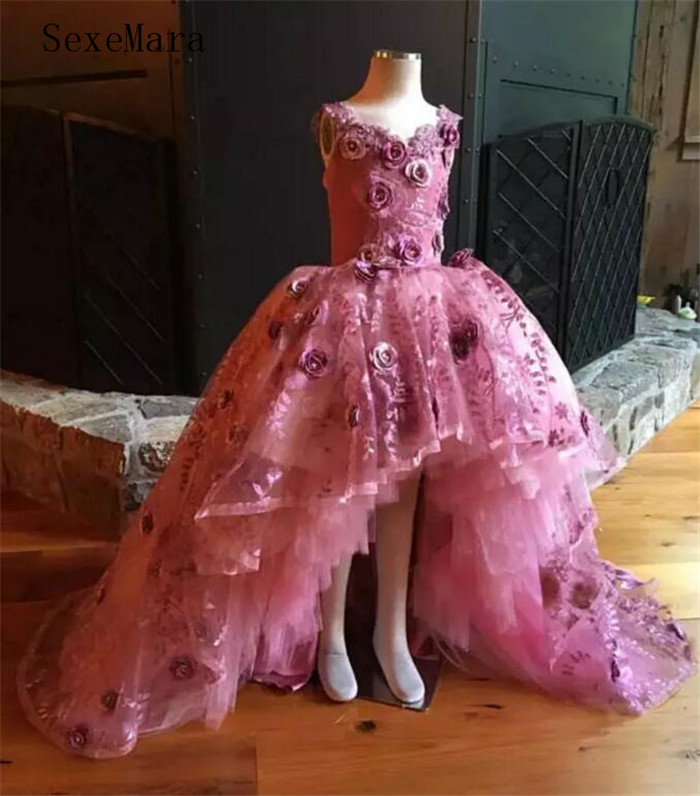 Pink Flower Girls Dress For Wedding Lace 3D Flower Appliques Hi Lo Little Girls Pageant Dress Girls Birthday Dresses Size 2-16YPink Flower Girls Dress For Wedding Lace 3D Flower Appliques Hi Lo Little Girls Pageant Dress Girls Birthday Dresses Size 2-16Y