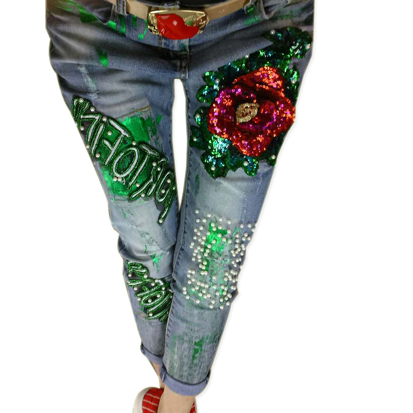Fashion Paillette 2016 Distrressed Fashionable Casual Denim Pants Patchwork Beaded Rhinestone Jeans Female