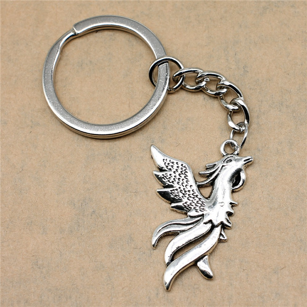 1 Stück Schlüssel-ring Phoenix Kreative Handarbeit Geburtstag Geschenke 35x22mm Anhänger Antike Silber