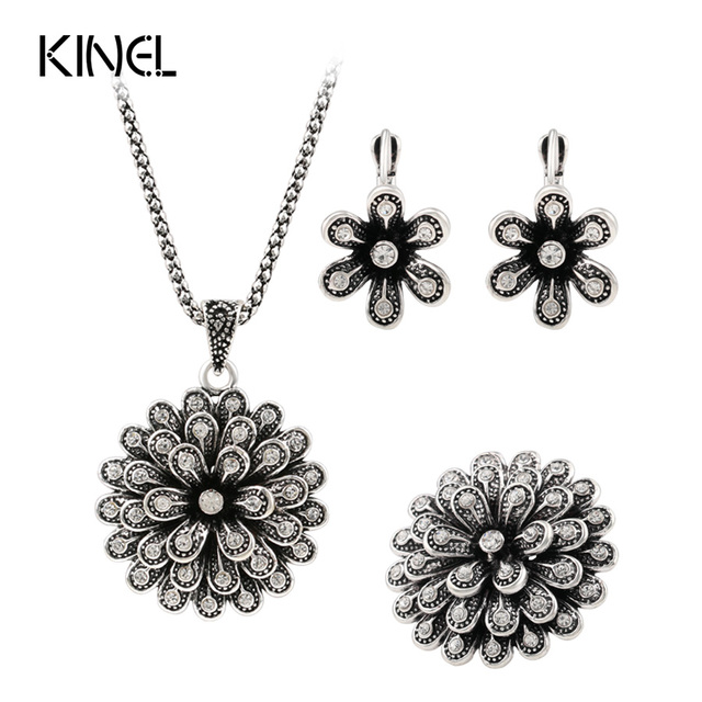 Luxury 3pcs Fashion Bridal Jewelry Sets Color Silver Retro Look Crystal Flower Necklace Ring EarringAfrican Beads Jewelry Set