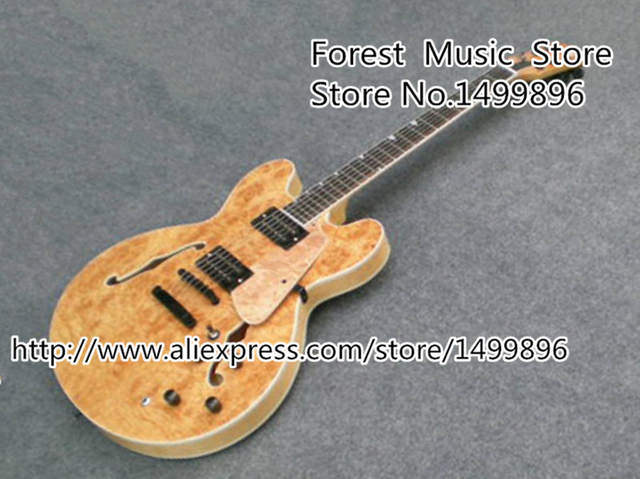 Cheap Wholesale & Retail Chinese Nature Wood Quality Hollow Body Electric Jazz Guitar China OEM Left Handed Custom Available
