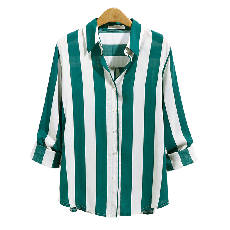 2018 summer New Fashion Women Striped turn down collar Shirt Casual Loose Long Sleeve Striped Oversized Shirt Blouse Tops