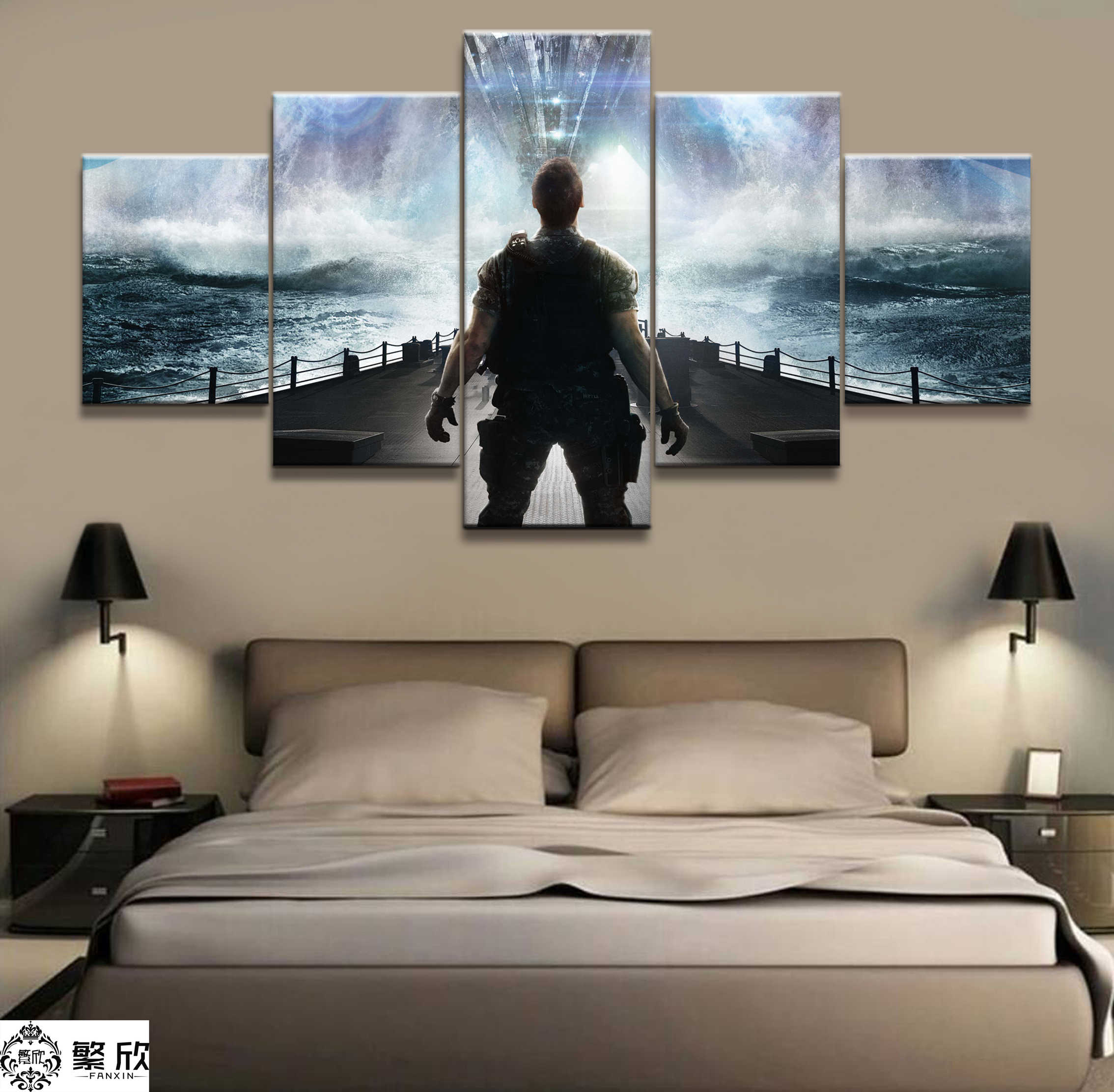 5 Panel Battleship Warfare Arms Poster Printed Painting For Living Room Wall Art Decor  Picture Artworks Poster