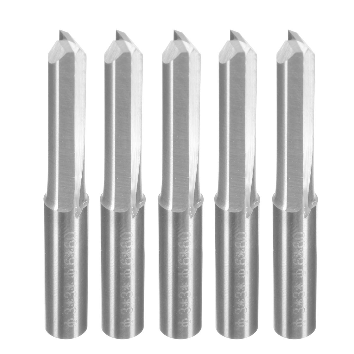Top Quality 5pcs Set 6mm Double Flute Straight Slot CNC Router Bits Endmill Milling Cutter For