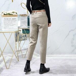 Image 3 - Korean Winter Wool Pants women New High Slim Waist Belted Harem Elegant Trousers Female Autumn Warm Womens Long Pants F201