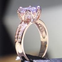Размеры 5–10 оптовая продажа Роскошные ювелирные изделия круглой огранки стерлингового серебра 925 и розового золота 5A циркония Для женщин С