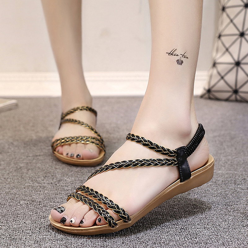 Women's sandals 2018 Women Shoes  Comfort Sandals Summer Flip Flops Fashion High Quality Cross Strap Flat Sandals Gladiator