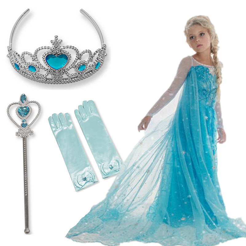 Halloween Elsa Anna Dress Girls Costume Fancy Party Princess Cosplay Baby Dresses Children's Christmas Birthday Sets Clothes