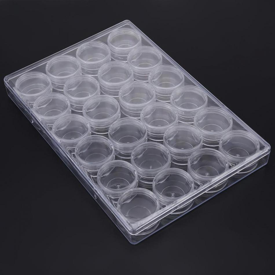 Rectangle Clear Plastic Jewelry Beads Ring Storage Box Set W/Round Bottle Container Tiny Storage Jars