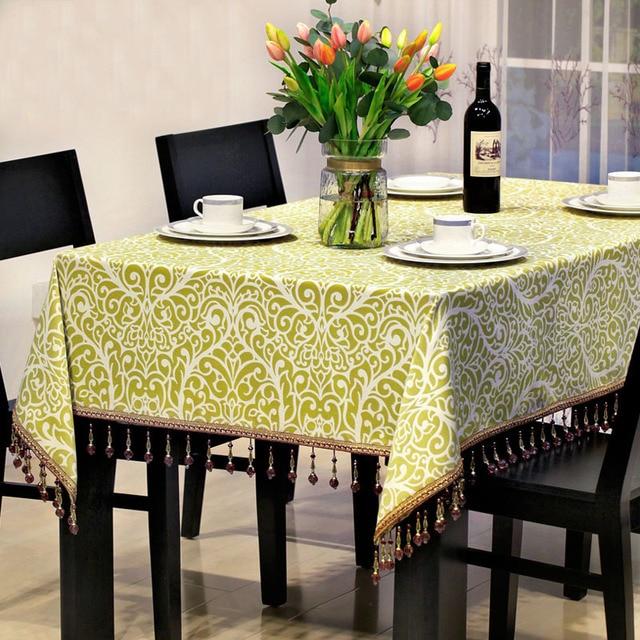 Jacquard Table Cloth Tablecloth Luxury Tassel Edge Dinner Table