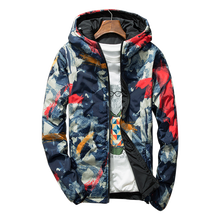 B Two-faced camouflage mens jacket autumn winter casual thickening plus cotton double-faced size 4XL