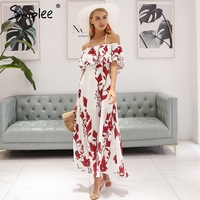 Simplee Sexy Off Shoulder Summer Dress Women Halter Backless Floral Print Long Dress 2018 Ruffle Bohemian