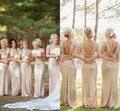 Real Sample Cheap Champagne Gold Sequin Bridesmaid Dresses 2016 Hot Long Wedding Party Dress vestidos de festa vestido longo