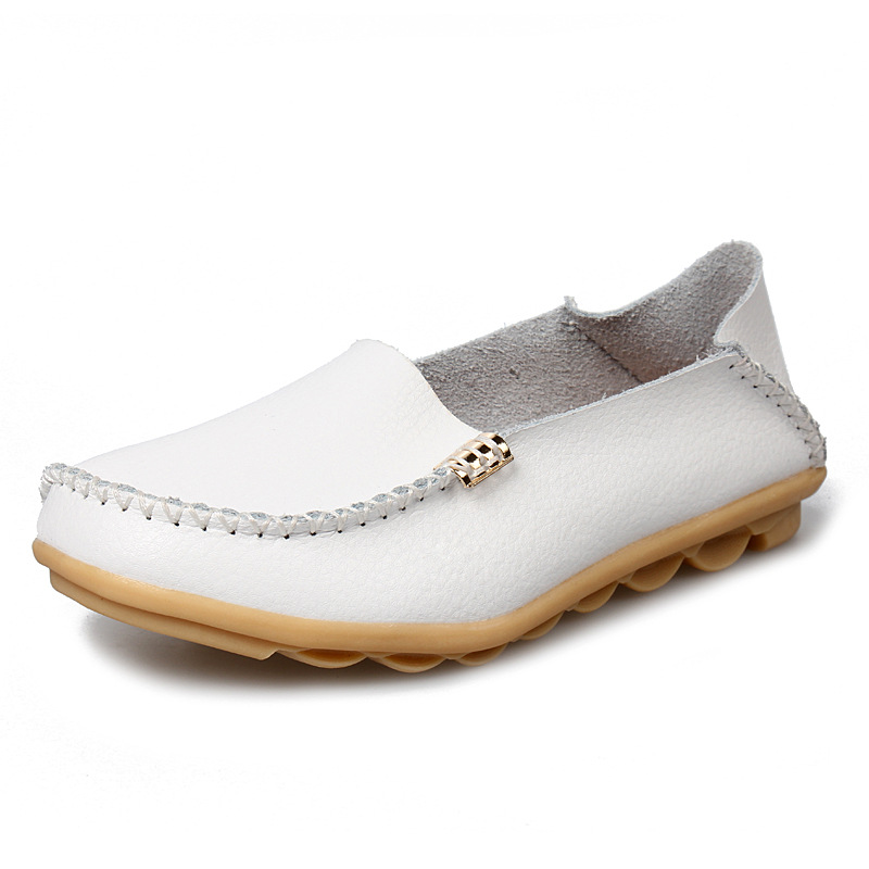 New Women Flats Genuine   Leather   shoes Flat Loafers Casual Ladies Slip Cow Driving Boat Shoes