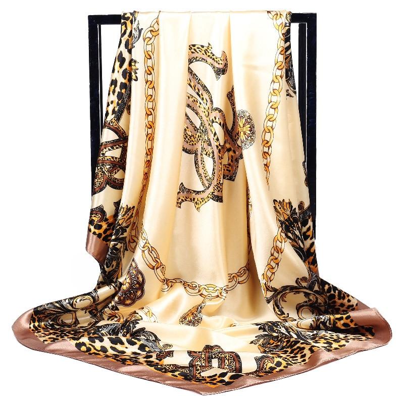 Flora Print Square Head   Scarves     Wraps   Luxury Brand Quality Female Foulard Satin Shawls Hijab 90*90cm
