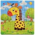 16 шт. деревянные головоломки для детей 2 - 4 лет мультфильм животных игрушки для новорожденных детей образования игрушки brinquedos игрушки для мальчик девочка