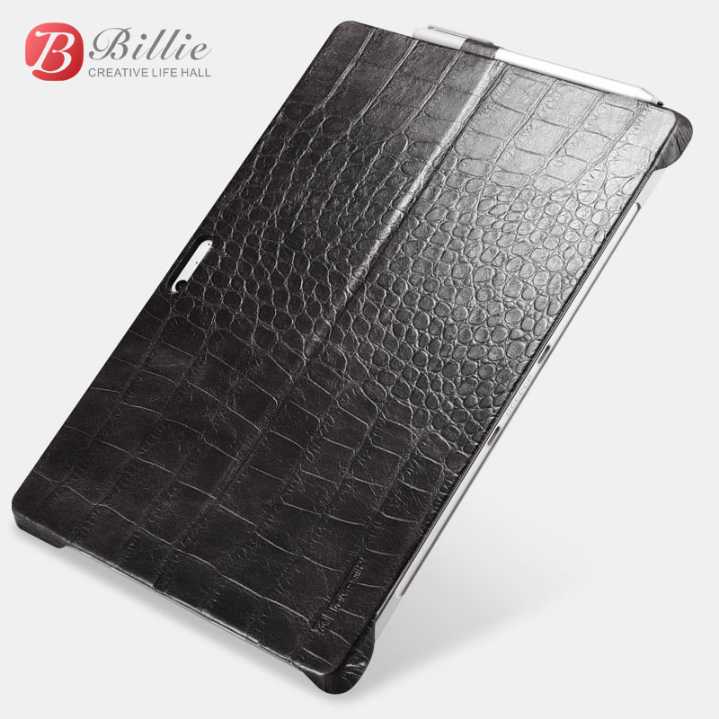 (1PC) icarer Cover Embossed Crocodile Genuine Leather Back Case For Microsoft Surface Pro 2017 & Surface Pro 4 12 Case Sleeve wkae glossy embossed leather case cover for iphone x