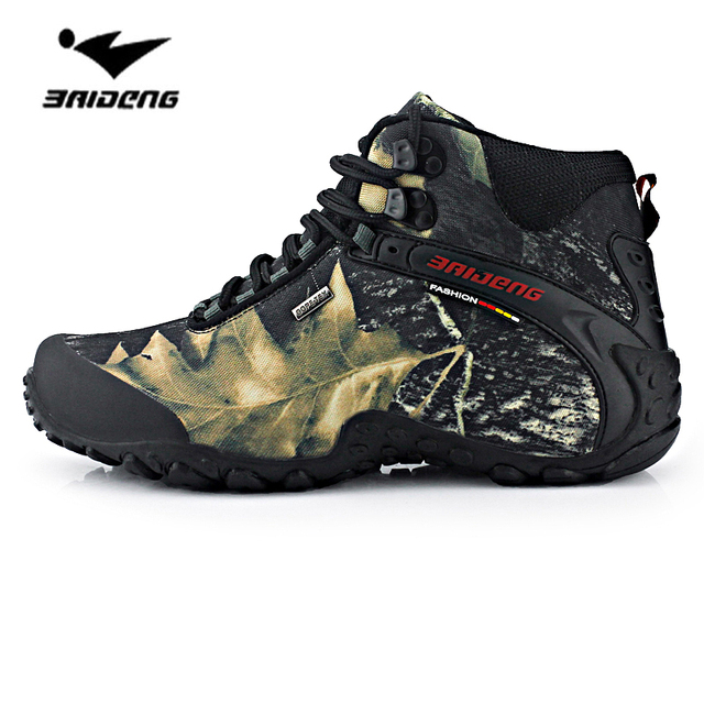 New waterproof canvas hiking men shoes trekking boots outdoor camouflage hunting climbing high top 2017 plus large size 45 46