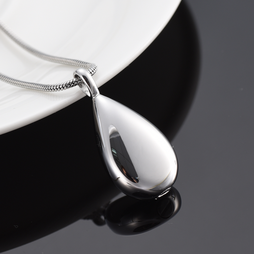 XWJ9945 Free Filling Kit & Instruction! High Quality Silver Tone Tear Drop Cremation Urns Pendant Ashes Casket for Pet/ Human