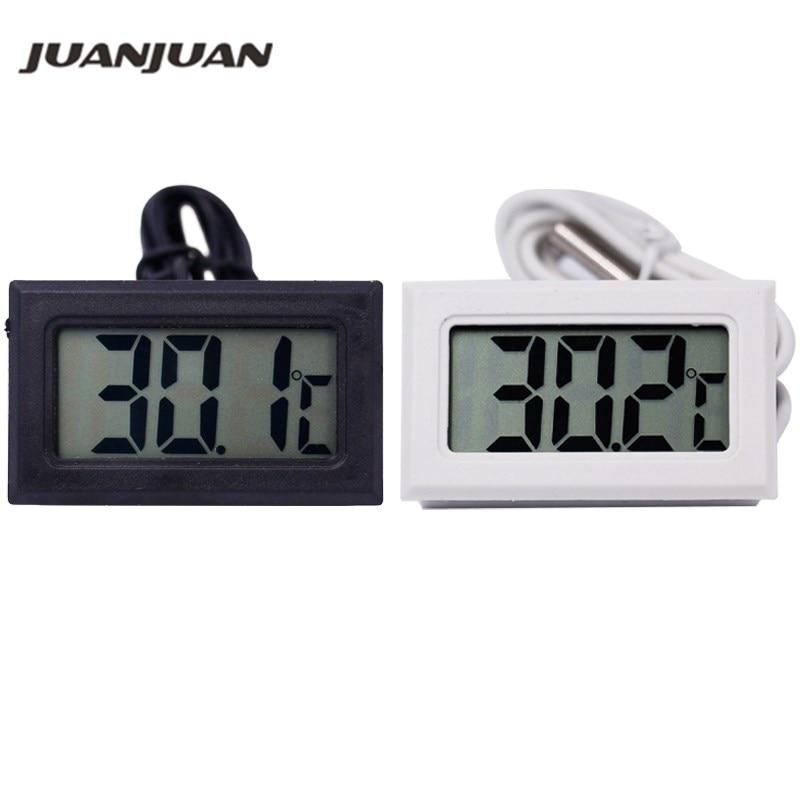 10db-os hőmérő hűtőszekrény digitális LCD-szonda fagyasztóhőmérő 110C hűtőszekrényhez (fekete / fehér) 40% kedvezmény