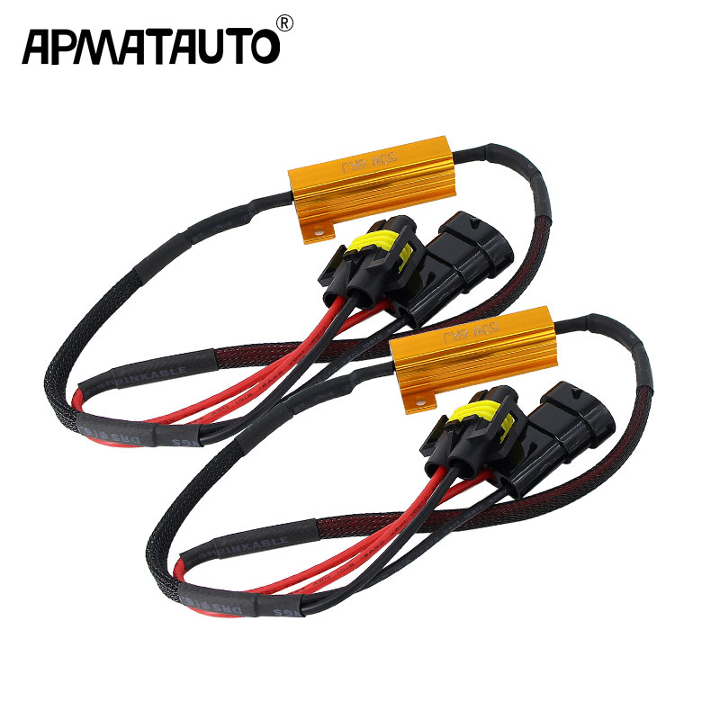 2X Error Free H4 H7 H8 H9 H11 9005 HB3 9006 HB4 Headlight Fog Light Xenon Lamp Bulb Decoder Resistor Wire Harness Adapter 50w(China)
