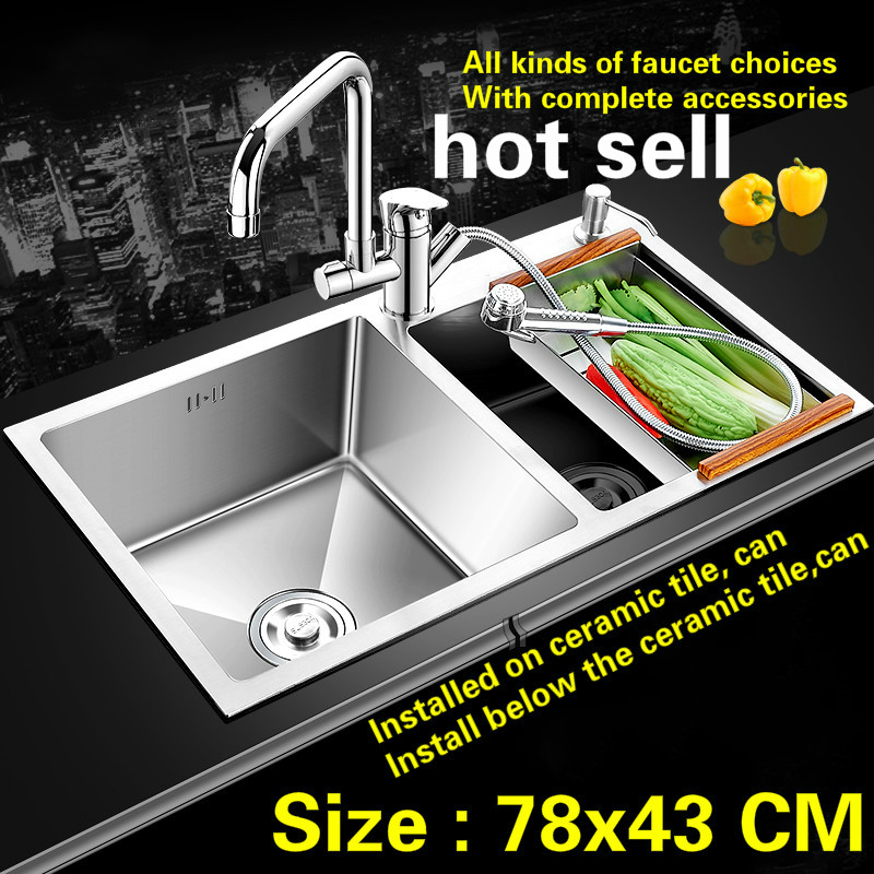 Free Shipping Kitchen Sink Durable 304 Stainless Steel Hand Made Double Groove Hot Sell 78x43 CM