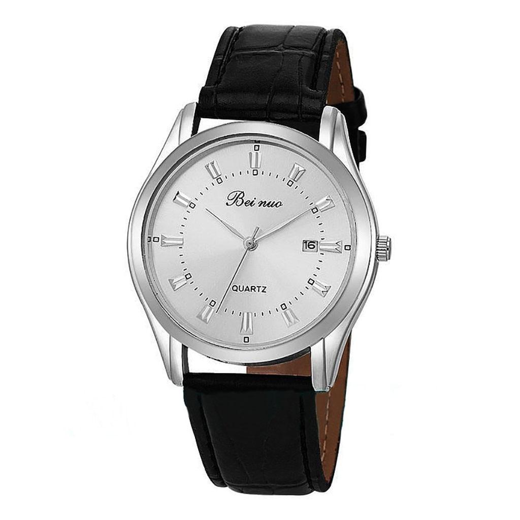 Beinuo Fashion Business Simple Men Watch Small Calendar Leather Strap Buckle Men's Clock Quartz Wrist Watches Relogio Masculino