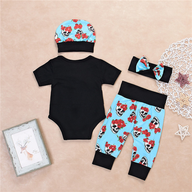 Floral Skull Print Baby  Clothes