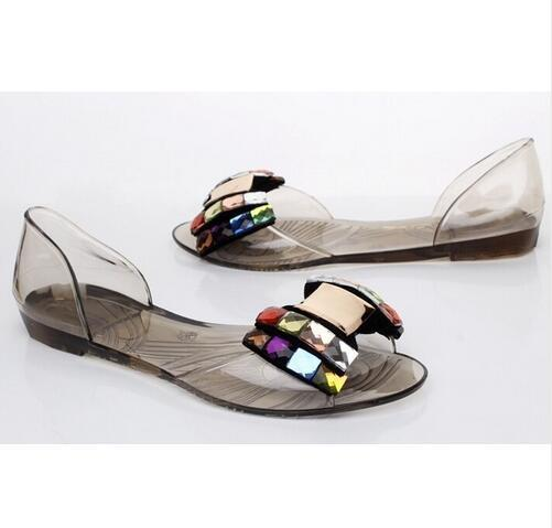 52600d922 Women Sandals Summer Bling Bowtie Fashion Peep Toe Jelly Shoes Sandal Flat  Shoes Woman 2 Colors Size 35-40