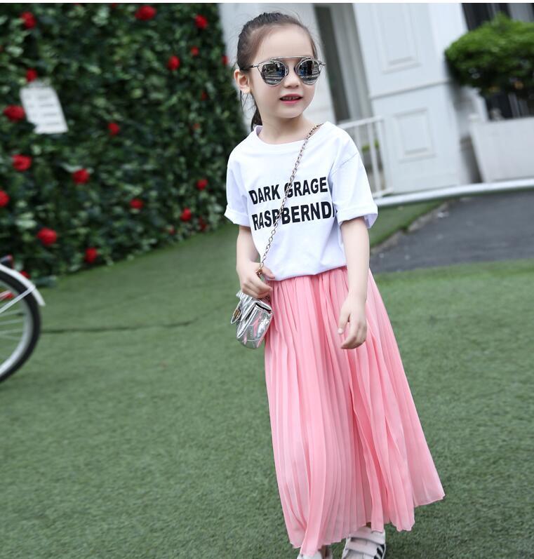 Girls Long Skirt Children Clothes Kids Pink Black Pleated Skirts Teenage Girls Skirts Summer 8 9 10 11 12 13 14 Years Mother