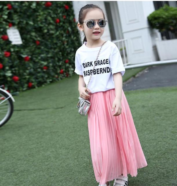 21ff508dd5c9 Girls Long Skirt Children Clothes Kids Pink Black Pleated Skirts Teenage Girls  Skirts Summer 8 9 10 11 12 13 14 Years Mother