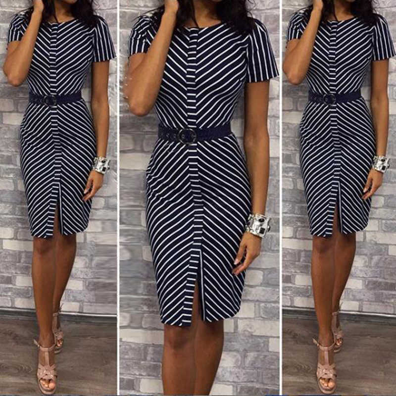 Women Office Work Dress Vertical Stripe Round Neck Bodycon Perfect For Business Ball Ladies Slim Dress