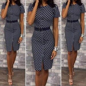 Women Office Work Dress Vertical Stripe