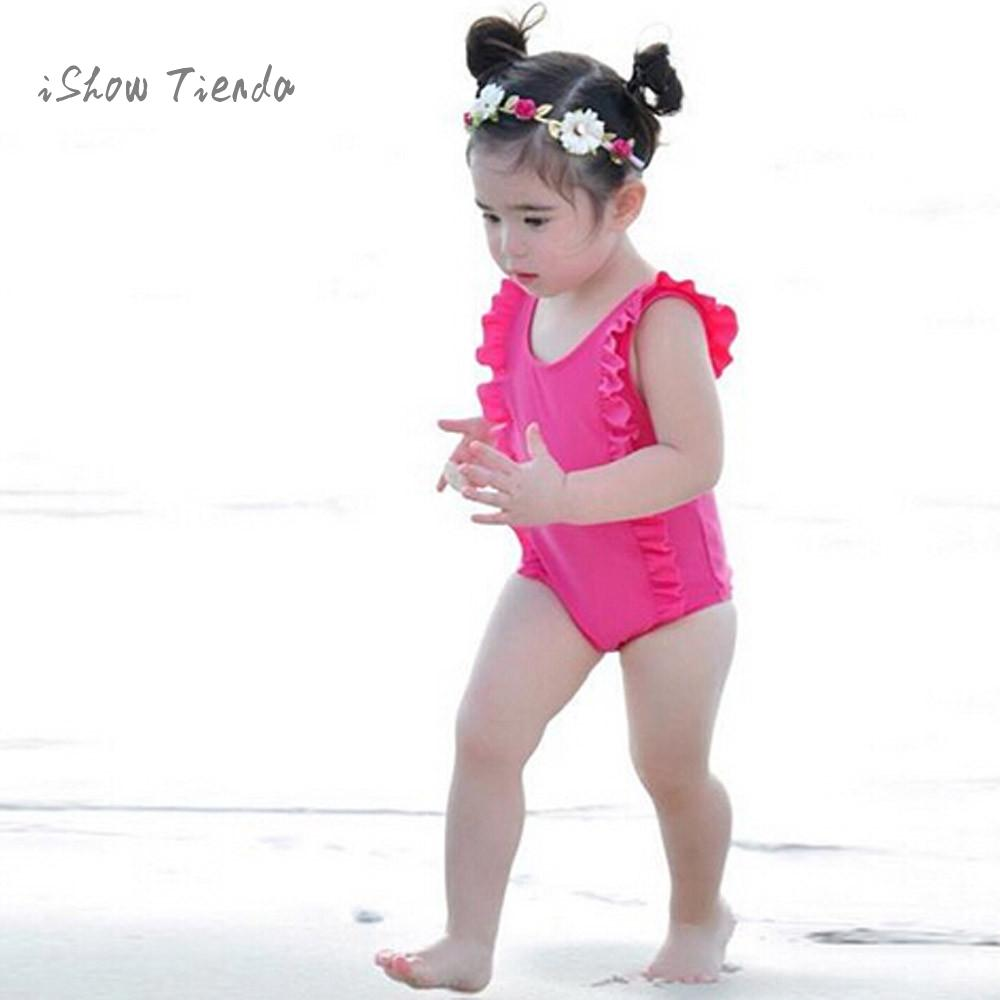 ISHOWTIENDA Kids baby girl summer bodysuits One Piece Ruffles Bikini Swimwear Swimsuit Bathing Suit Beachwear baby body onesie