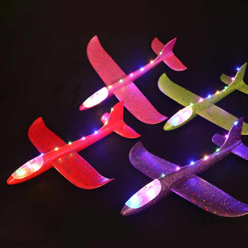 48cm Airplane Foam Toys Light Flying Mini Foam Throwing Glider Inertia DIY Aircraft Toy Hand Launch Airplane Model Toys