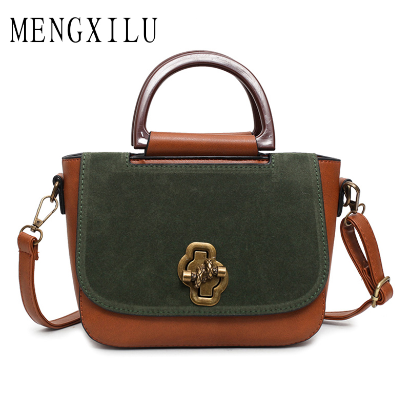 MENGXILU Designer Women Handbags Retro Pu Leather Shoulder Bag Patchwork Scrub Printing Crossbody Messenger Bag Briefcase Bags