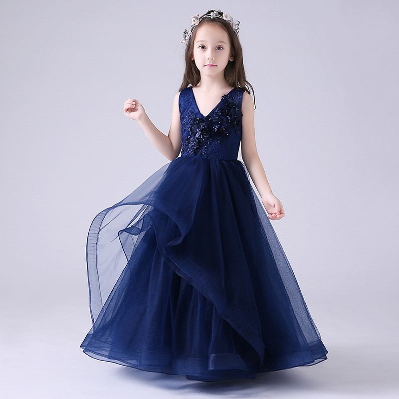 Christmas Dinner Dresses 2019.2019 Kids Girl Pearls Mesh Princess Pageant Dress Children Lace Wedding Christmas Party Dresses Baby Girls Elegant Ball Gown Q26