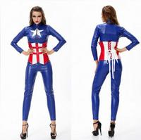 Sexy Adult Haloween Costumes Blue Female American Captain Avenger Union Cosplay Warrior Set Roupas Feminina Leather