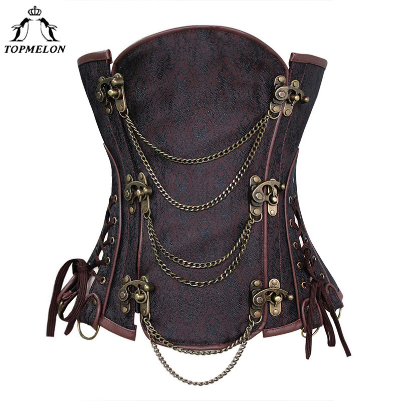 TOPMELON   Corsets   and   Bustiers     Corset   Steampunk   Bustier   Gothic Corselet   Corset   Women Retro Chains Floral Hollow Out Bandage Tops