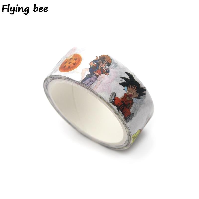 Flyingbee 15mmx5m Paper Washi Tape Dragonball Cool Adhesive Tape Diy Scrapbooking Sticker Label Masking Tape X0259