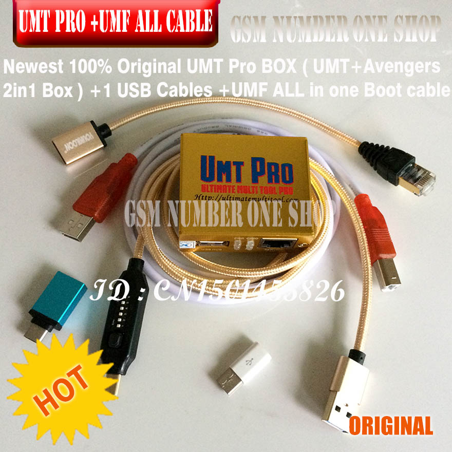 2019 Newest 100% Original UMT Pro BOX  / Umt Pro Tool ( UMT+ Avengers 2in1 Box With 1 USB Cables ) + Umf All In 1 Boot Cable +